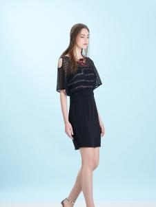 卡索女装17新款小黑裙