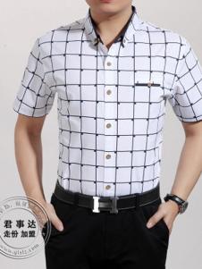 欧森朗新款短袖格子衬衫