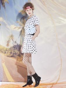 马克华菲白色波点连衣裙