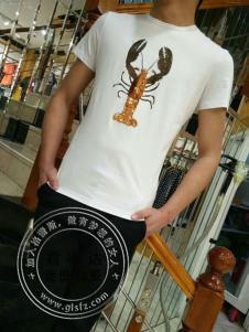 欧森朗新款龙虾印花T恤