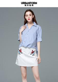 休闲条纹短袖衬衣斜口时尚欧美风时尚衬衣