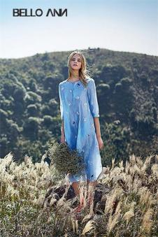 BELLO ANN2017夏季新品蓝色长衫