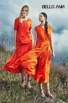 BELLO ANN2017夏季新品橙色长裙