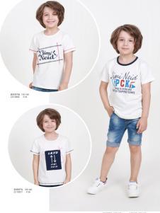杰米兰帝17夏新款男童白色印花T恤