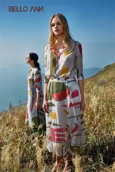 BELLO ANN2017夏季新品不规则图案长裙