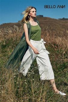 BELLO ANN2017夏季新品白色阔腿裤