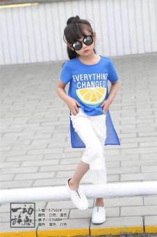 贝贝依依童装女蓝色短袖