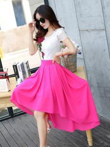 衣肖秀新款桃红色半身裙