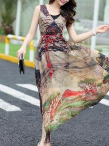 衣肖秀新款V领无袖连衣裙