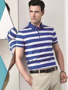啄木鸟新款蓝白条纹T恤
