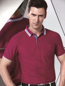 啄木鸟新款短袖绛红色T恤