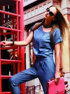 衣肖秀新款短袖蓝色衬衫