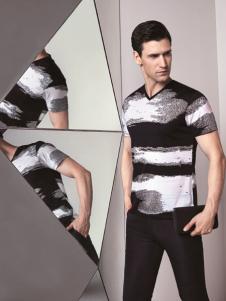 啄木鸟新款短袖V领T恤