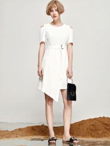丽芮17时尚新款个性白色连衣裙