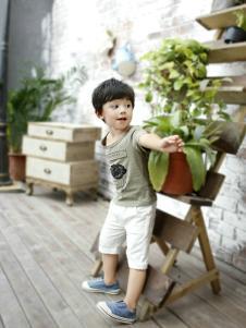 兔子杰罗夏季男童灰色T恤