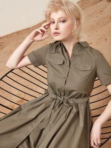 丽芮17时尚新款收腰文艺连衣裙