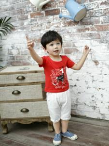 兔子杰罗新款男童红色T恤