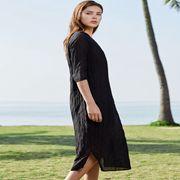唯简尚女装新品 气质棉麻连衣裙穿搭技巧