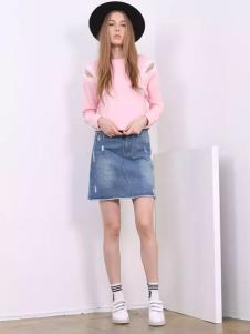 芝麻E柜2017新款粉色T恤