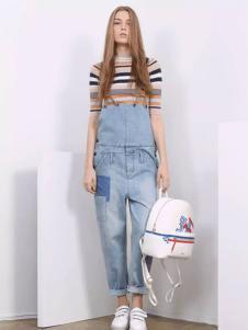 芝麻E柜2017新款牛仔背带裤