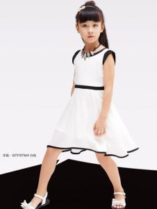 快乐丘比女童白色连衣裙