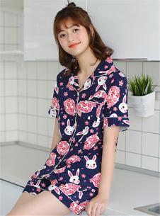 玫瑰春天新款时尚蓝粉家居服