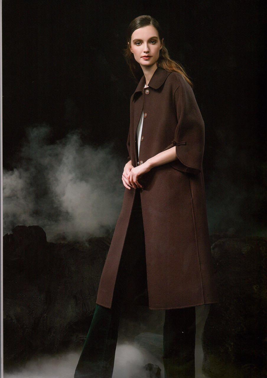[世纪蓝天]16年冬季专柜正品双面尼大衣羊绒手工刺绣品牌尾货女装