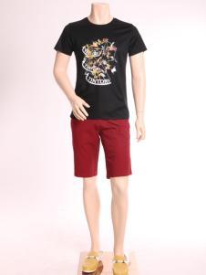 添多利男装17夏新款黑色T恤