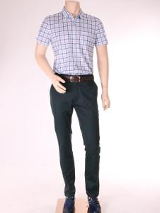 添多利男装17夏新款时尚格子衬衫