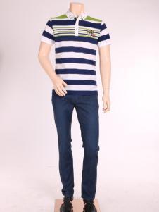 添多利男装17夏新款条纹Polo衫