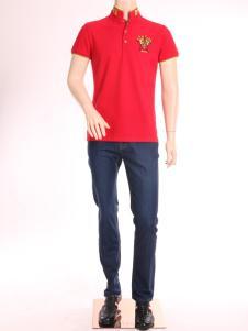 添多利男装17夏新款红色翻领T恤
