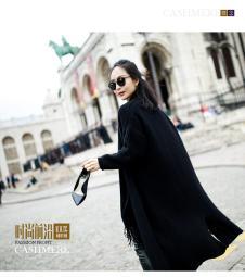 欧美时尚风长款休闲羊绒开衫