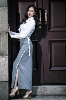 香莎女装新品侧开长裙