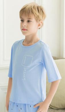 男童七分袖英伦格调衫