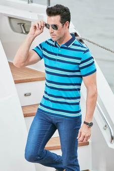 圣路鹰2017夏季蓝色条纹polo衫