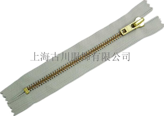 采购上海静安正品YKK拉链3号金铜闭口拉链