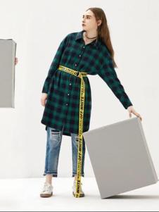 钡禾2017秋季新款格子衬衫
