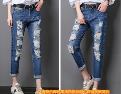 广东厂家大量低至10元尾货牛仔裤批发