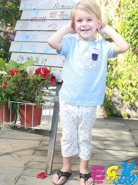 芭乐兔男童装17新款蓝色T恤