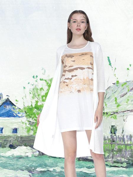 艺域女装17棉麻白色连衣裙