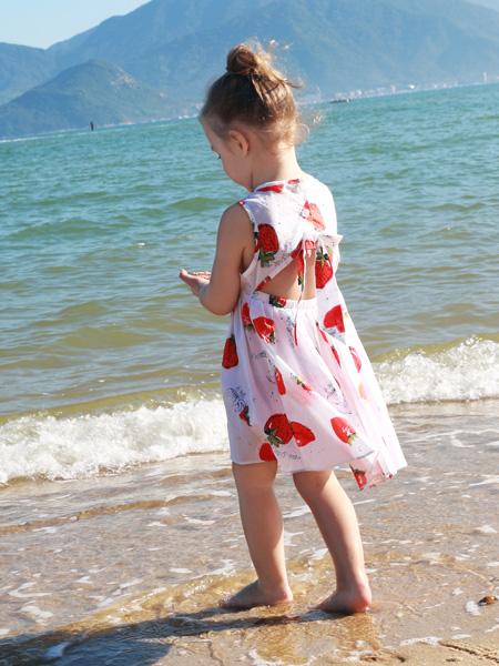 芭乐兔女童装17新款印花裙