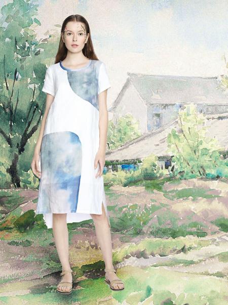 艺域女装17白色棉麻印花裙