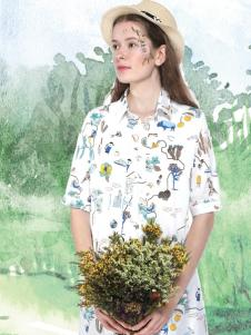 艺域女装17棉麻印花衬衫裙