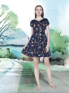艺域女装17棉麻印花裙