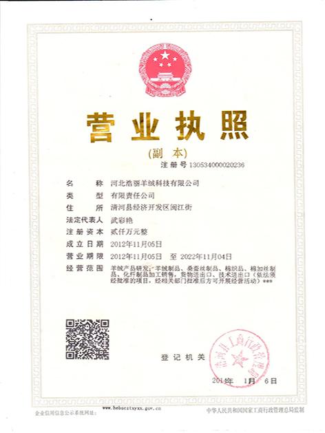 河北浩丽羊绒科技有限公司企业档案
