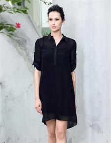 名师路2017新款黑色连衣裙