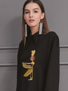 艾丽哲2017秋冬新款圆领黑色T恤