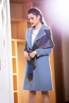 茉诗可可MISICAKOO蓝色中长款外套