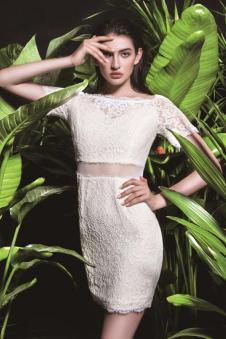 依妙女装新品白色蕾丝裙