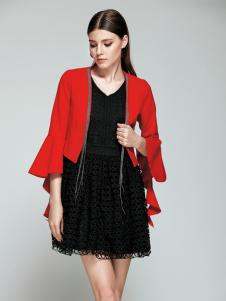 TRUGIRL楚阁2017新款红色短外套